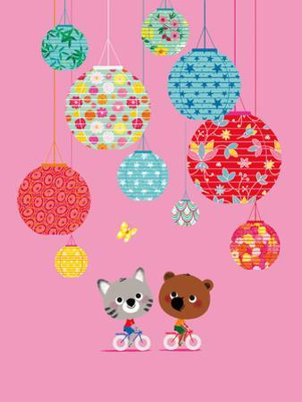 Mouk with Chinese Lanterns (Pink Background)