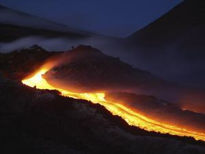 Mount Etna Lava Flow at Night, Sicily, Italy