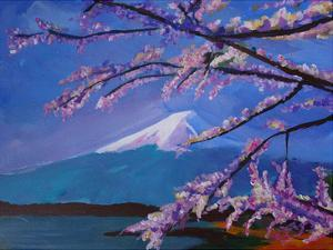 Mount Fuji With Lake And Almond Blossom Time by M Bleichner