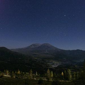 Mount St. Helens is Seen against a Star-Filled Sky