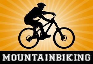 Mountain Biking Orange Sports Poster Print
