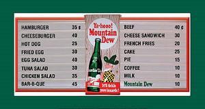 Mountain Dew Soda Menu Board