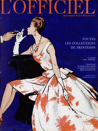L'Officiel - Robe du Soir de Jean Lanvin Castillo en Organsoie de Ducharne, Bijoux de Mauboussin