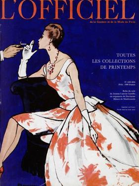 L'Officiel - Robe du Soir de Jean Lanvin Castillo en Organsoie de Ducharne, Bijoux de Mauboussin by Mourgue