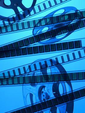 Movie Film and Reel in Blue Light