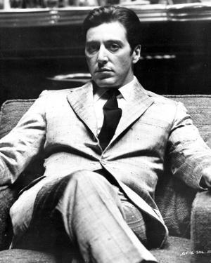 Al Pacino sitting on a Chair, Cross Legs Pose in Formal Outfit Black and White by Movie Star News