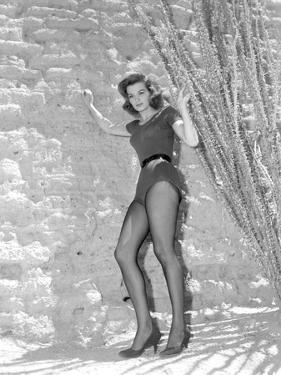 Angie Dickinson Posed in Sexy Dress Black and White by Movie Star News