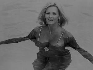 Angie Dickinson Swimming Black and White by Movie Star News