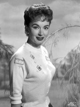 Ann Blyth on a Knitted Top and smiling by Movie Star News