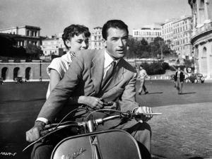Audrey Hepburn and Gregory Peck in Rome Riding a Motorcycle by Movie Star News