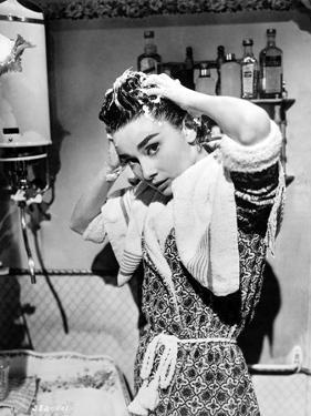 Audrey Hepburn Washing Hair Portrait by Movie Star News
