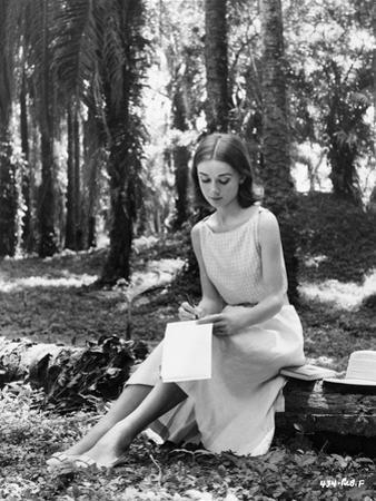 Audrey Hepburn Writing in the Piece of Paper by Movie Star News