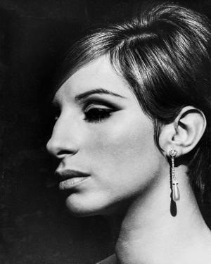 Barbra Streisand Close Up Portrait With Black Background with Hook Earrings by Movie Star News