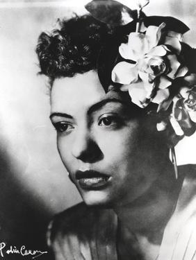 Billie Holiday Close Up Portrait with Floral Accessories by Movie Star News