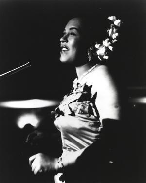 Billie Holiday in Gown singing by Movie Star News