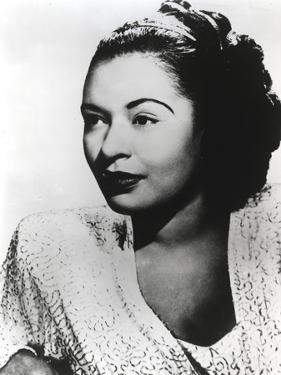 Billie Holiday Looking Away wearing Lace Dress Portrait with White Background by Movie Star News
