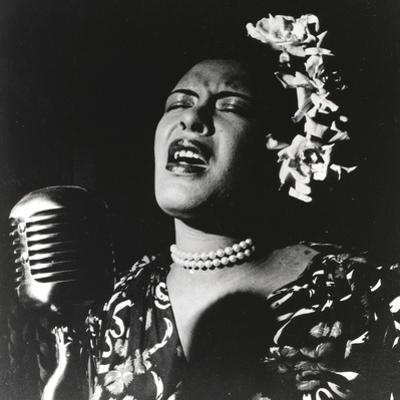 Billie Holiday singing in Black Dress with Flower on Head Portrait by Movie Star News