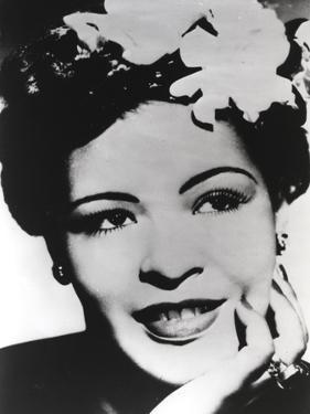 Billie Holiday smiling with Flower on Hair Black and White Portrait by Movie Star News