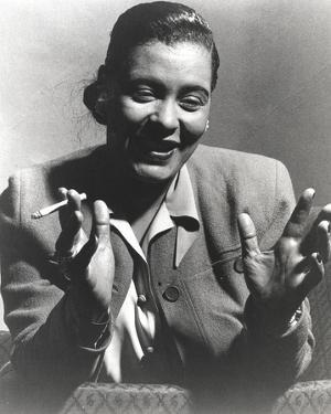 Billie Holiday Smoking Cigarette in Black and White Portrait by Movie Star News