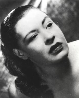 Billie Holiday with Dark lipsticks Close Up Portrait by Movie Star News