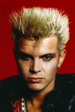Billy Idol Close Up Portrait with Red Background by Movie Star News