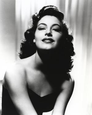 Black and White Portrait of Ava Gardner in Black Dress by Movie Star News