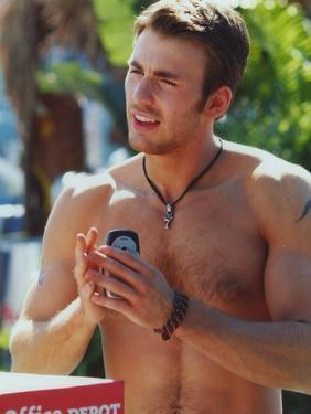 Chris Evans Topless Portrait by Movie Star News