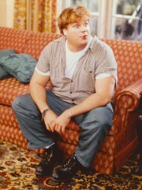Chris Farley sitting on Couch Candid Photo by Movie Star News