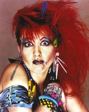 Cyndi Lauper Portrait in Red Hair and Blue Eye Lashes by Movie Star News