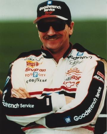 Dale Earnhardt smiling in Car Racing Outfit by Movie Star News