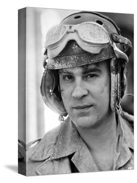 Dan Aykroyd Close Up Portrait wearing Helmet in Black and White by Movie Star News