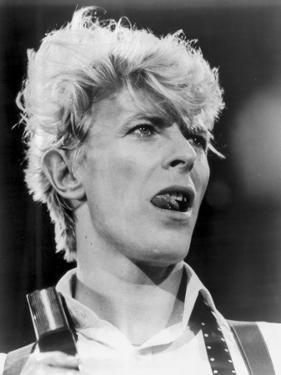 David Bowie Close Up Portrait Showing His Tongue by Movie Star News