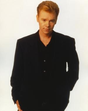 David Caruso Portrait in Black Suit with One Hand on Pocket by Movie Star News