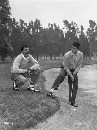 Dean Martin and Jerry Lewis Playing Golf in Classic Portrait by Movie Star News