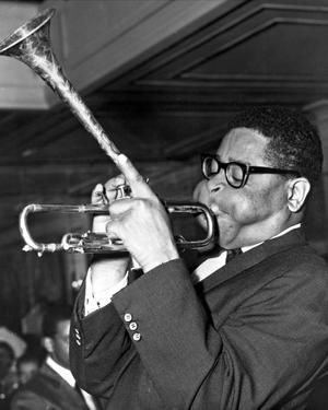 Dizzy Gillespie in Black Suit With Trumpet by Movie Star News
