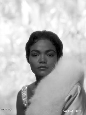 Eartha Kitt Portrait in Feather Coat by Movie Star News
