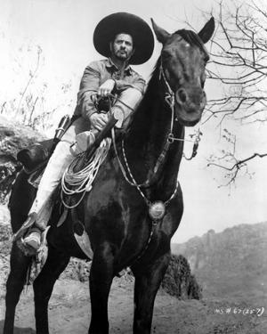 Eli Wallach in Cowboy Outfit With Horse by Movie Star News