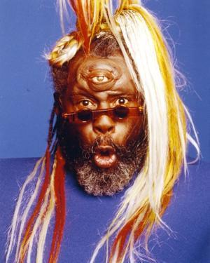 George Clinton Portrait in Blue Background by Movie Star News