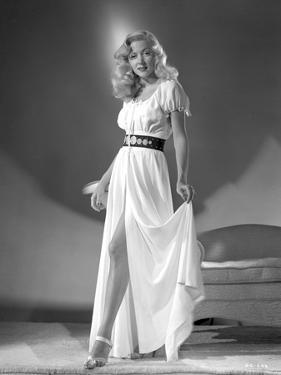 Gloria Grahame Curly Hair Posed in a White Dress by Movie Star News