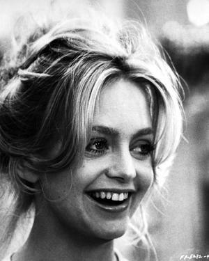 Goldie Hawn smiling Close Up Portrait Black and White by Movie Star News