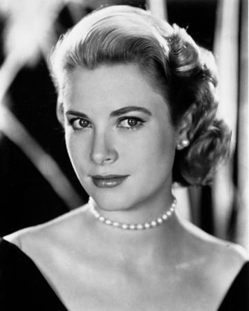 Grace Kelly Curly Hair, Red lipstick wearing Black Gown Portrait by Movie Star News