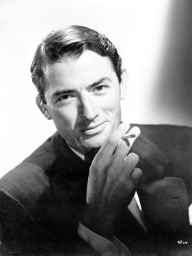 Gregory Peck With Cigarette Black and White Portrait by Movie Star News