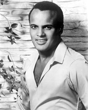Harry Belafonte in White With Flower background by Movie Star News