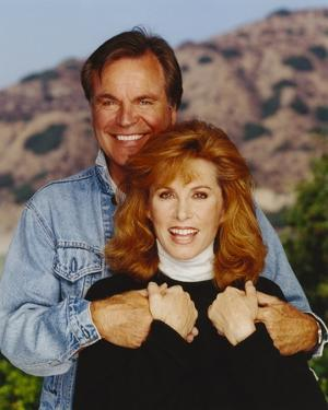 Hart To Hart Man in Denim Jacket and Woman in Turtle Neck Blouse by Movie Star News