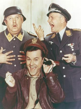 Hogan's Heroes Man in Leather Jacket with Two Men in Army Suit by Movie Star News