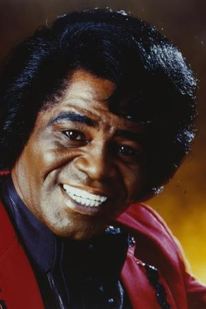 James Brown Portrait in Red Linen Suit and Black Collar Shirt by Movie Star News