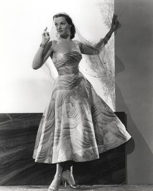 Jane Russell Posed in White Floral Silk Strap Dress by Movie Star News