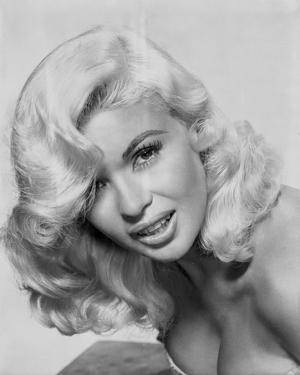 Jayne Mansfield Close Up Portrait in White Strapless Dress with Curly Hair in White Background by Movie Star News