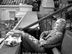 Jean Arthur on a Stripe Top sitting on a Chair by Movie Star News
