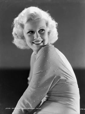 Jean Harlow Portrait in Silk Robe and Black Pelt by Movie Star News